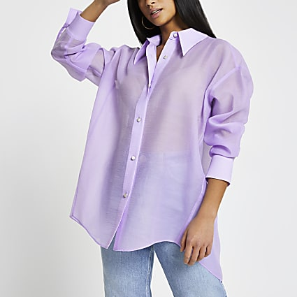 Petite purple oversized organza shirt