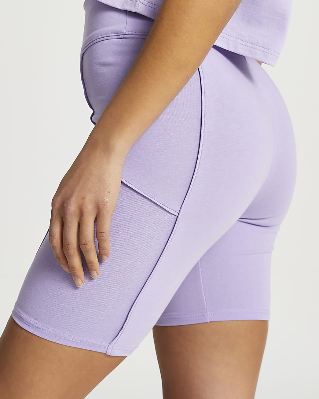 Petite purple piped cycling shorts