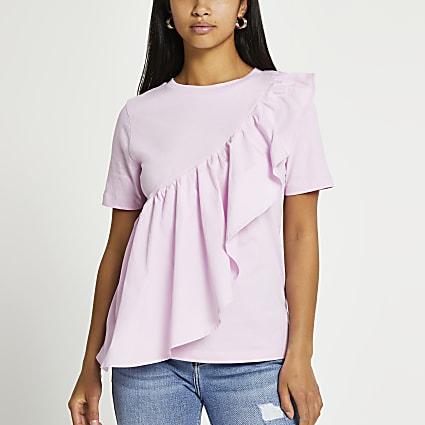 Petite purple poplin frill front t-shirt