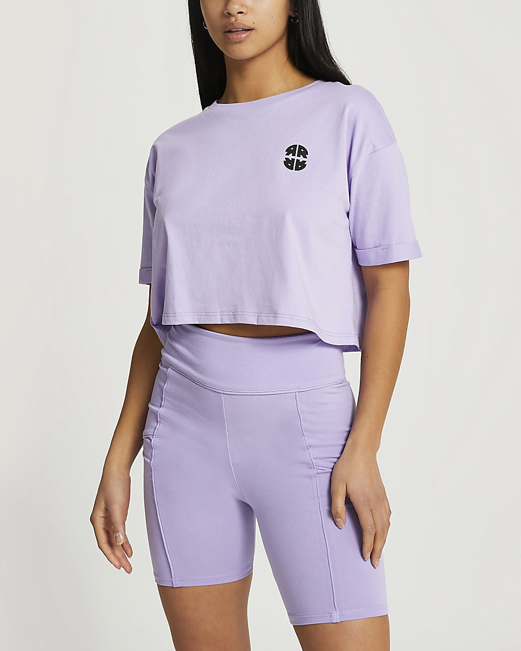 Petite purple RR cropped t-shirt