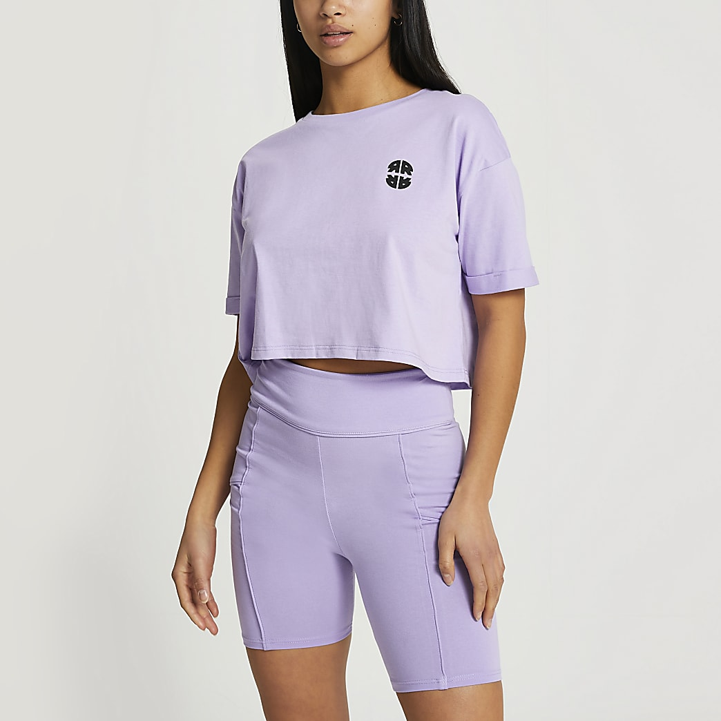 Petite purple RR cropped t-shirt