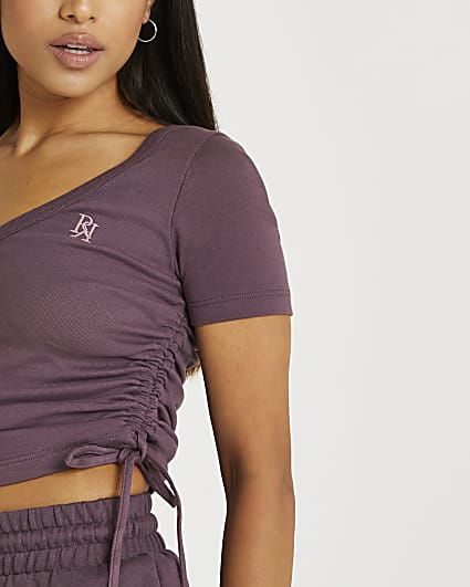 Petite purple ruched cropped t-shirt