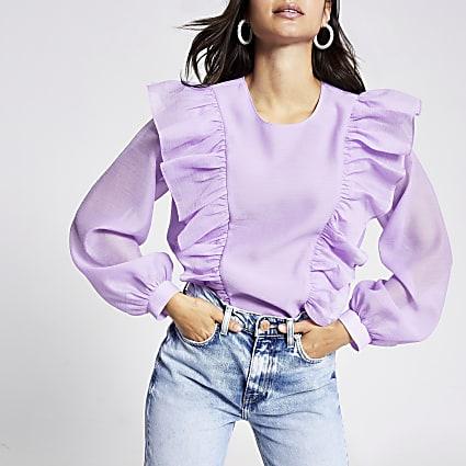 Petite purple ruffle front blouse