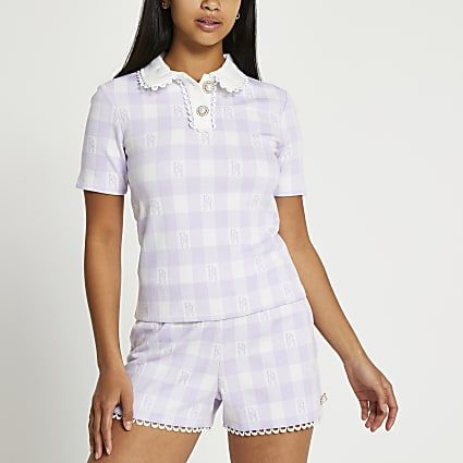 Petite purple scallop jacquard polo top