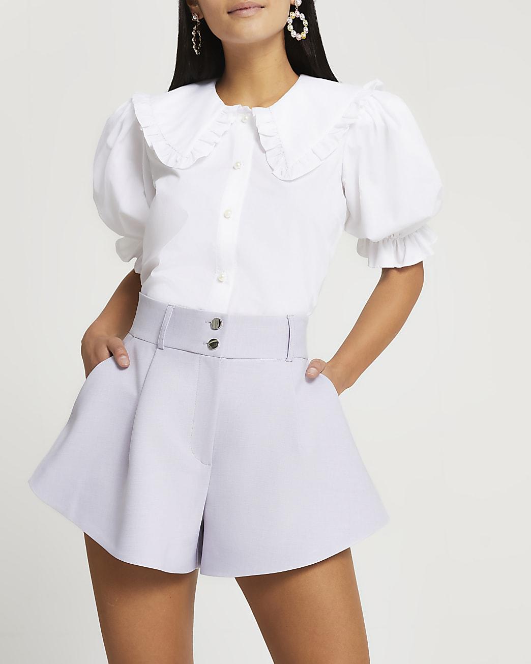 Petite purple structured double button shorts
