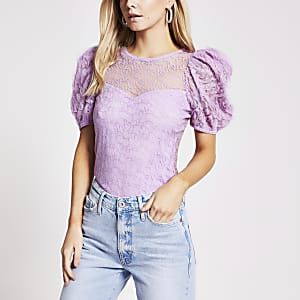 Petite– Haut à manches longues texturé violet