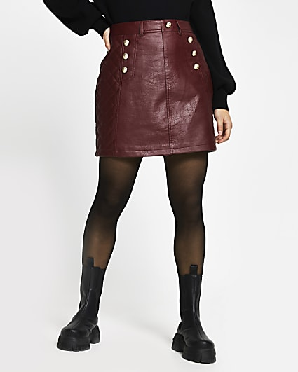Petite red faux leather mini skirt
