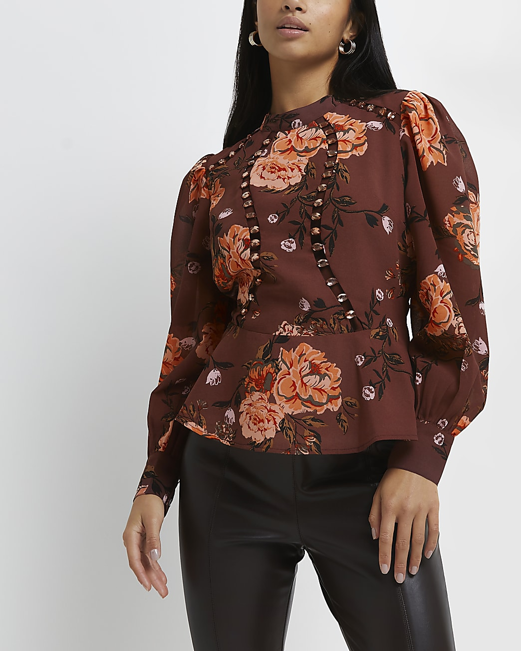 Petite red floral blouse