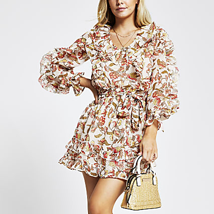 Petite red floral frilly Mini dress