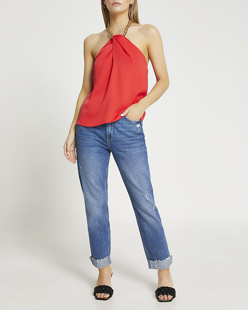 Petite red gold chain halter neck top