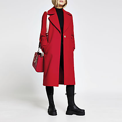 Petite red long line cuff detail coat