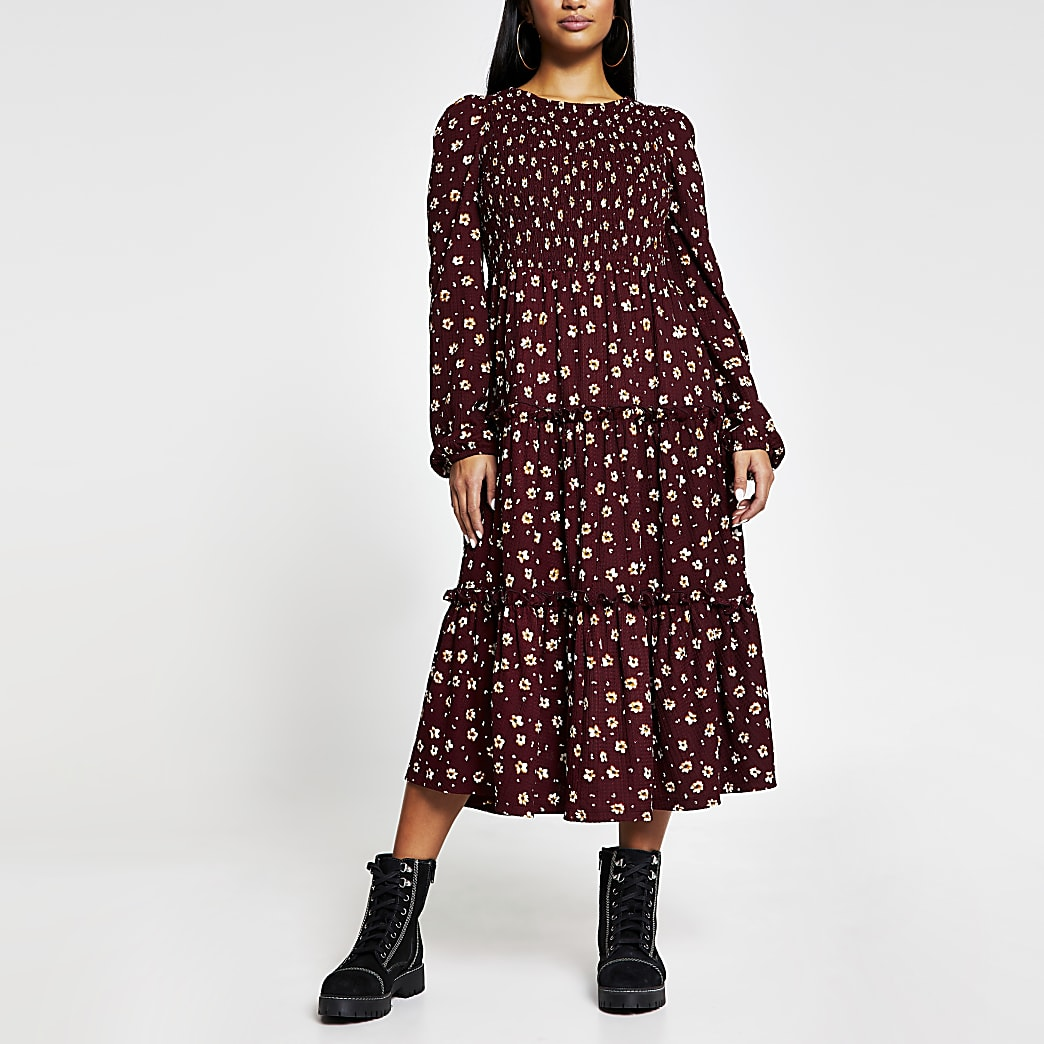 Petite red long sleeve ditsy smock dress
