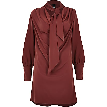 Petite red long sleeve tie neck mini dress