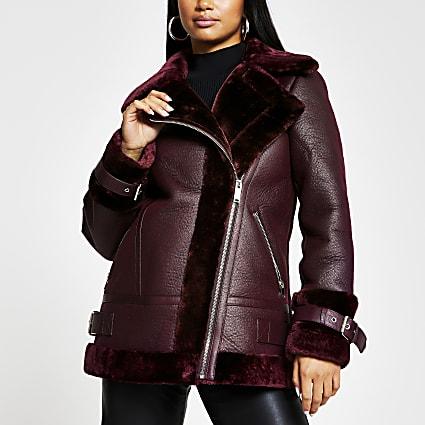 Petite red shearling aviator coat