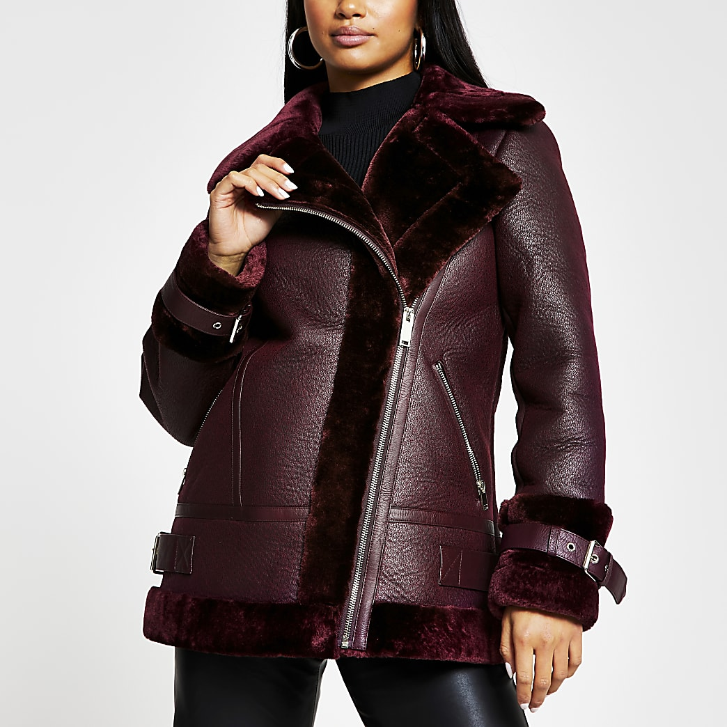 Petite red shearling aviator coat