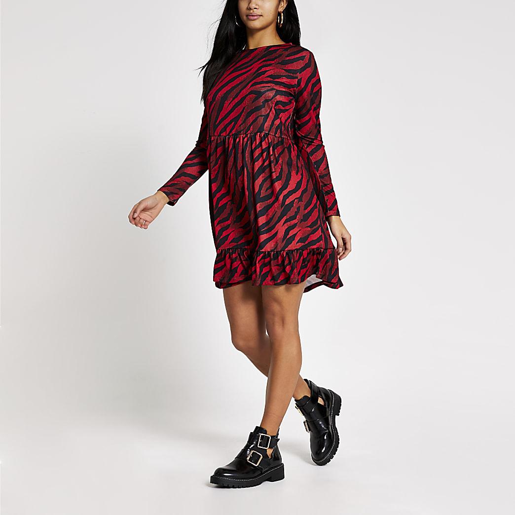 Petite red zebra printed mini smock dress