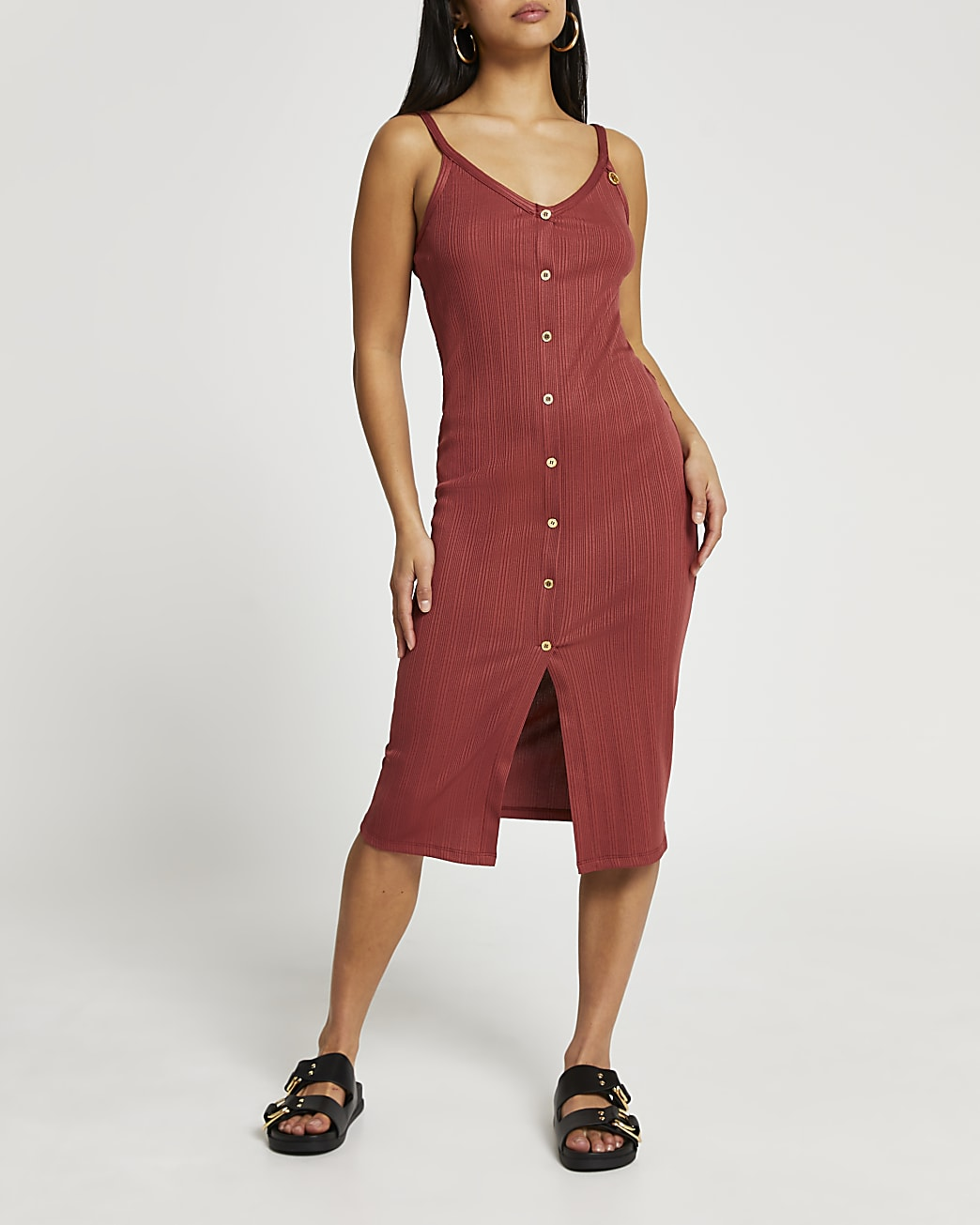 Petite rust ribbed button front midi dress