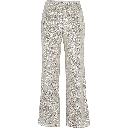 Petite silver slim sequin trousers