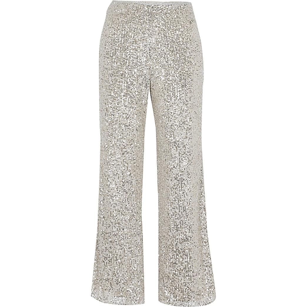 Petite silver slim sequin trousers