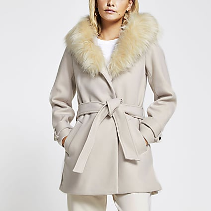 Petite stone belted faux fur hood robe coat