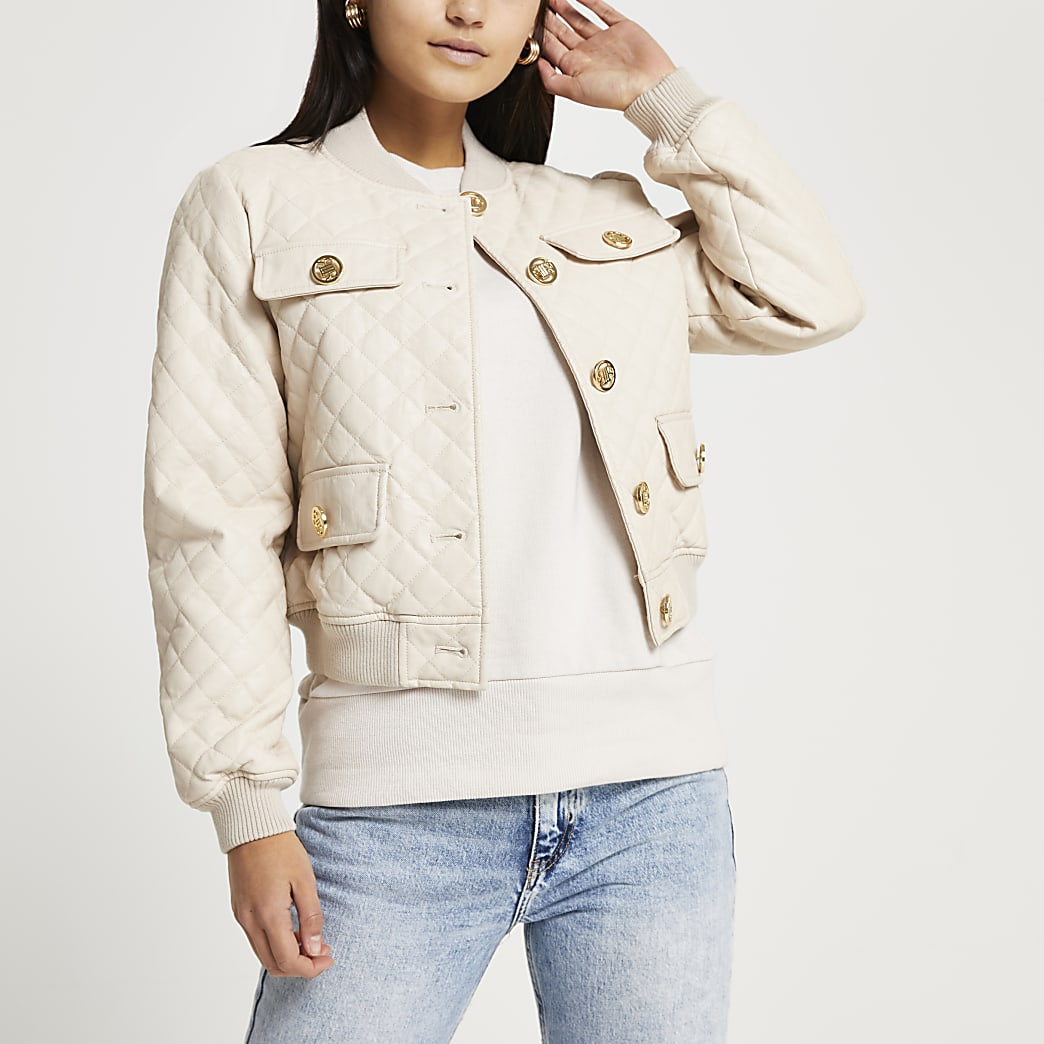 Petite stone faux leather bomber jacket