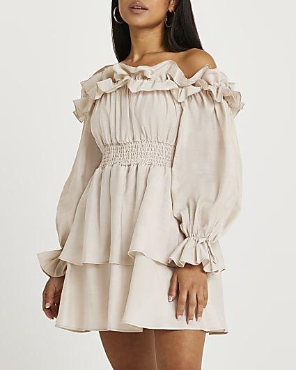 Petite stone frill detail bardot dress