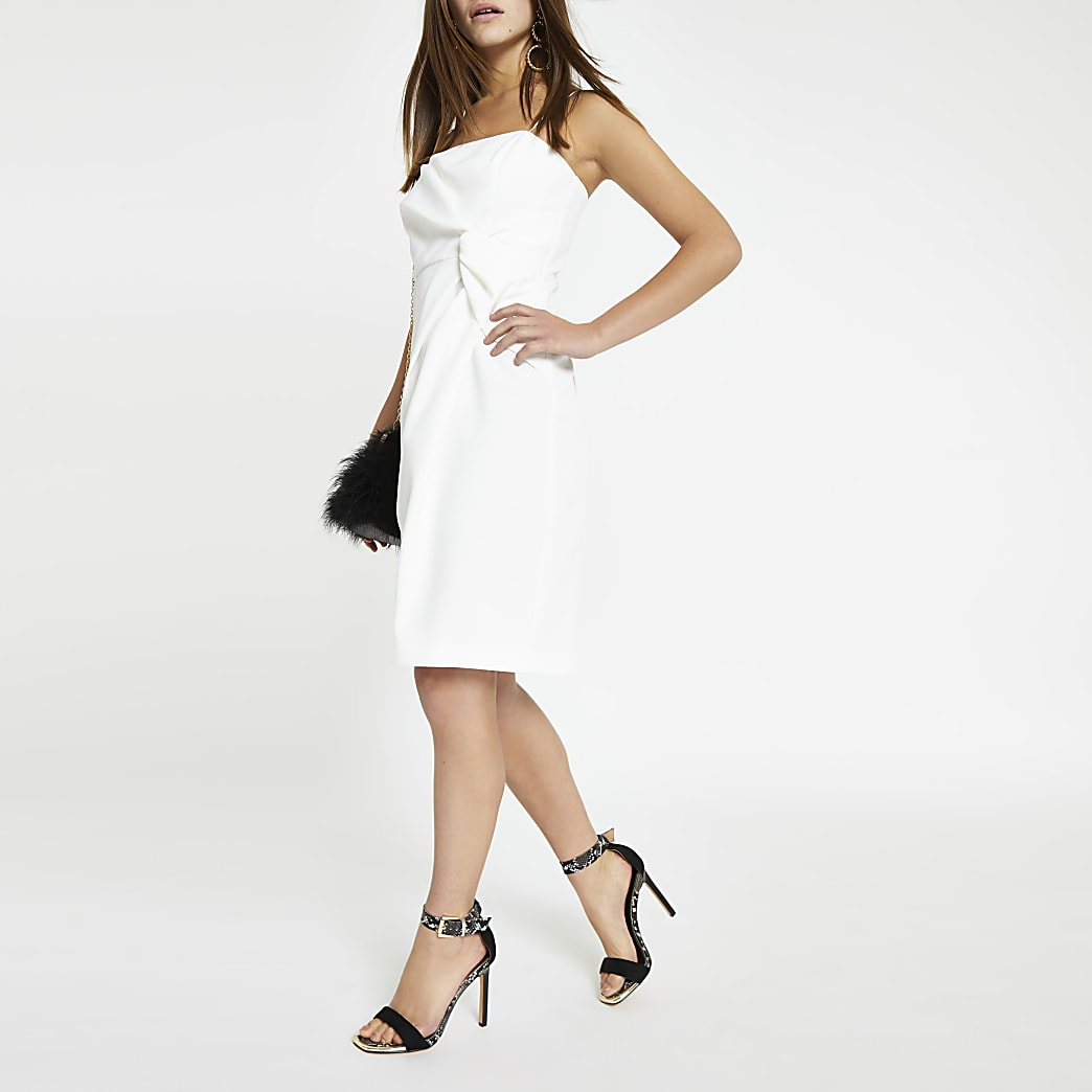 Petite white bodycon knot front dress