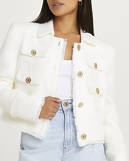 Petite white boucle blazer