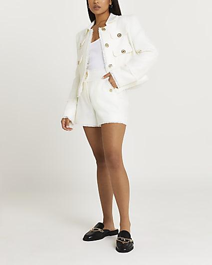 Petite white boucle shorts