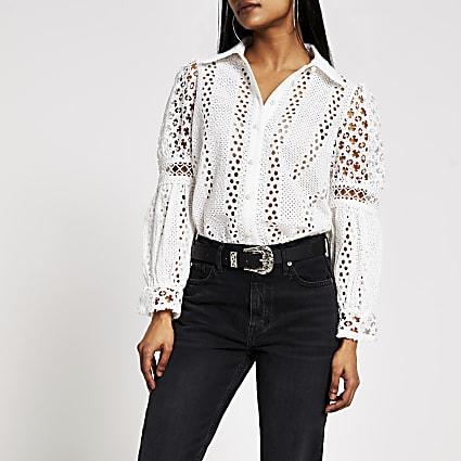 Petite white broderie long sleeve shirt