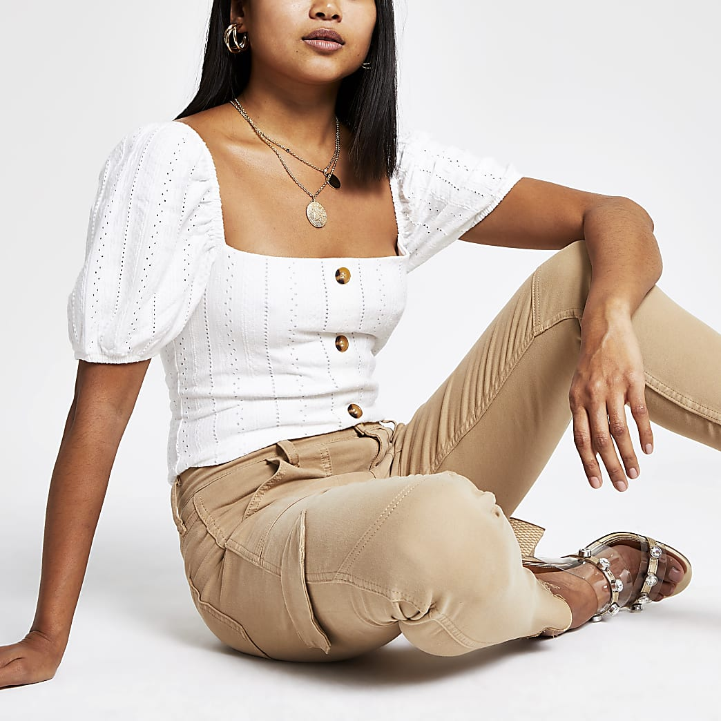 Petite white broderie puff sleeve top