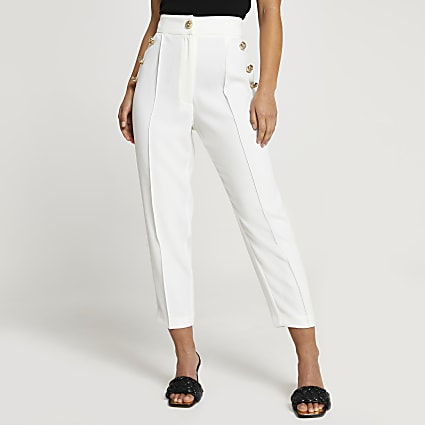 Petite white button front peg trousers