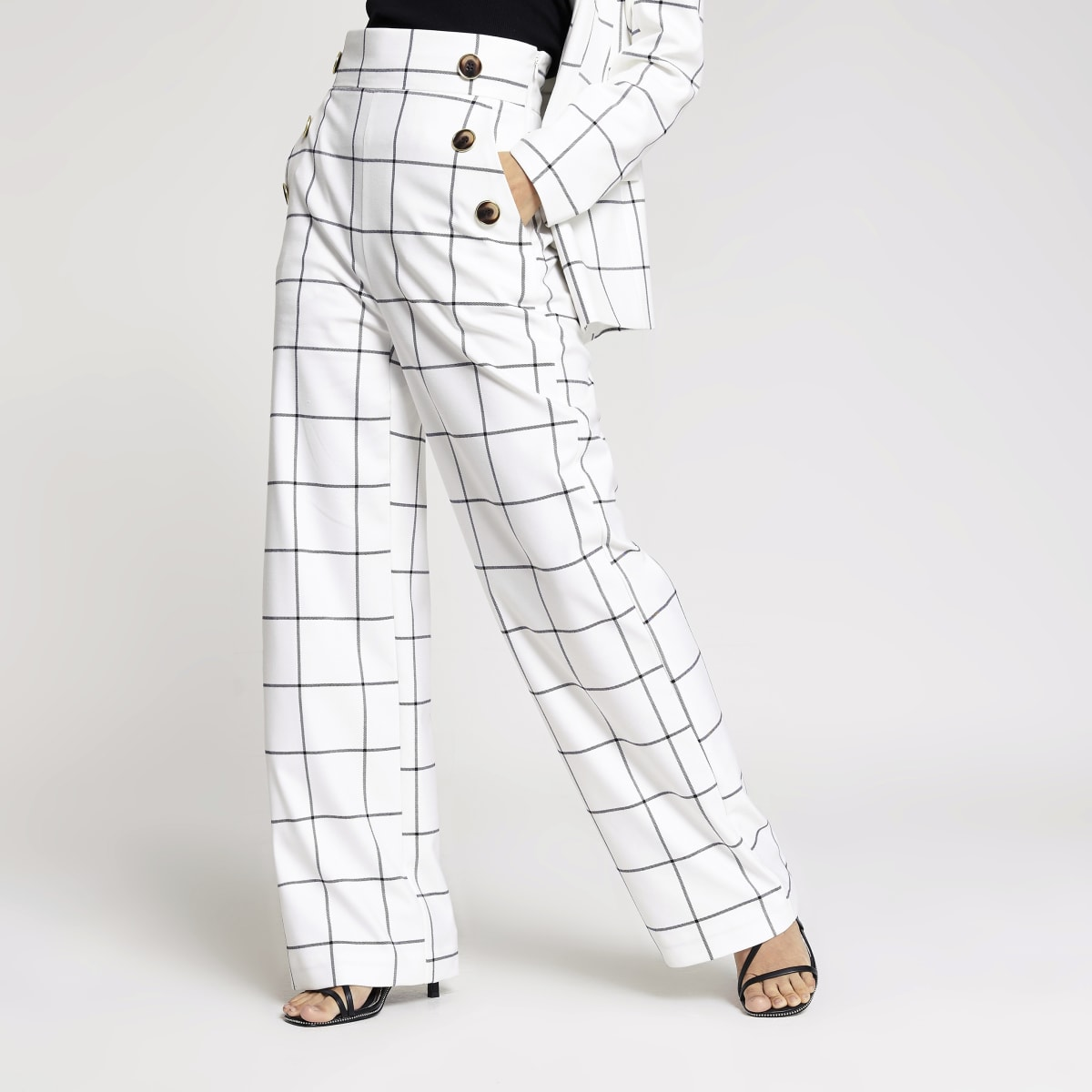 Petite white check wide leg trousers