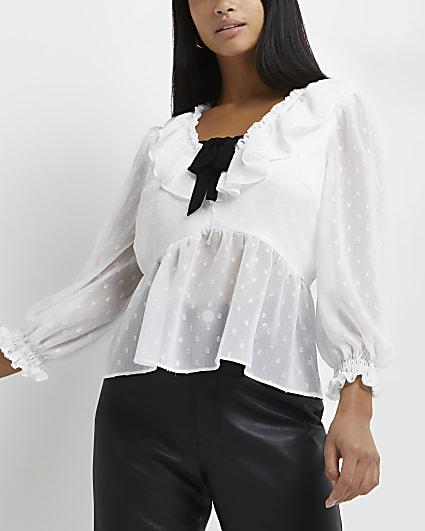 Petite white chiffon blouse