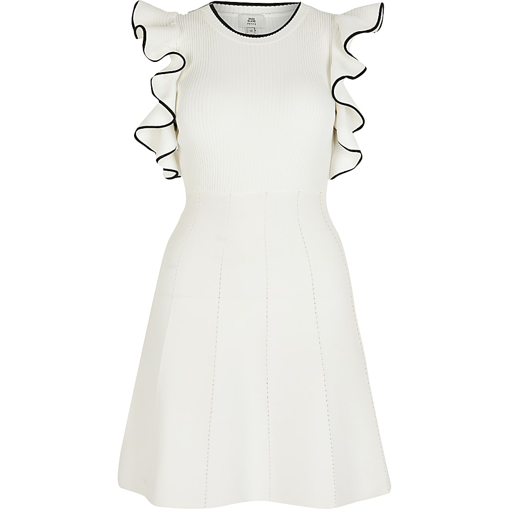 Petite white cold shoulder frill sleeve dress