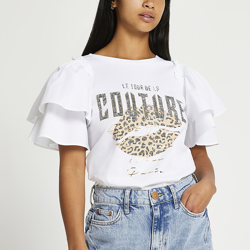 Petite white 'Couture' leopard print t-shirt