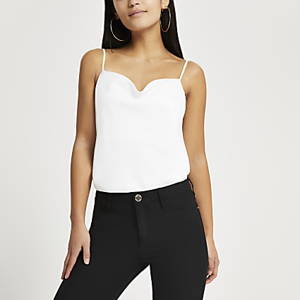 Petite white cowl neck cami top