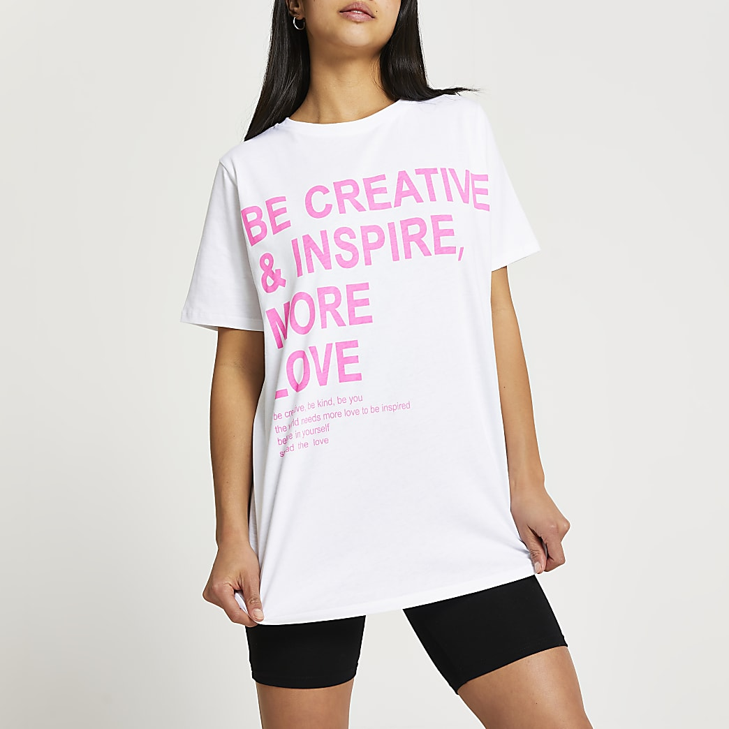 Petite white creative t-shirt