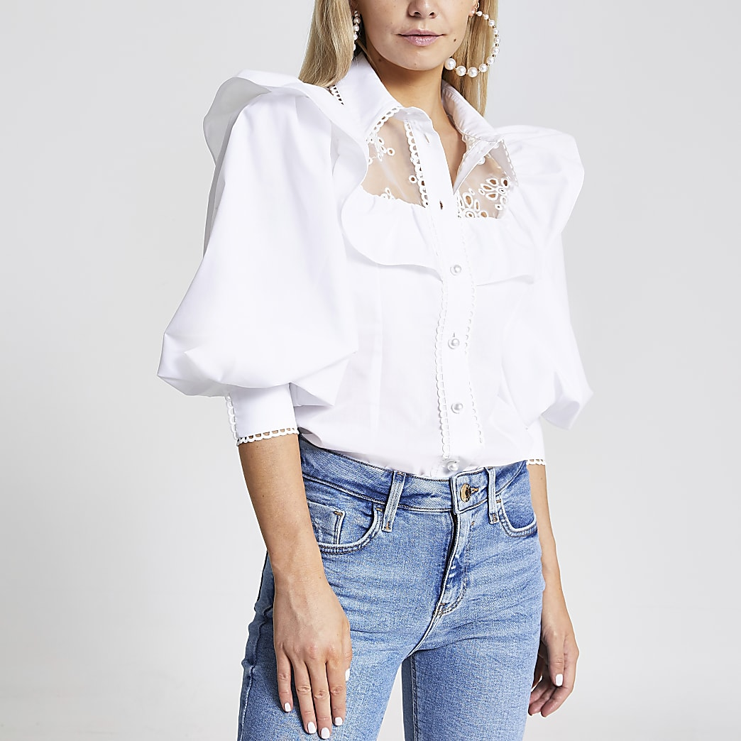 Petite white embroidered puff sleeve shirt