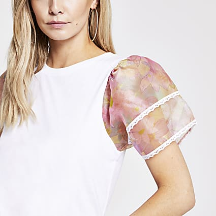 Petite white floral organza sleeve T-shirt
