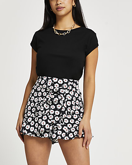Petite white floral soft frill shorts