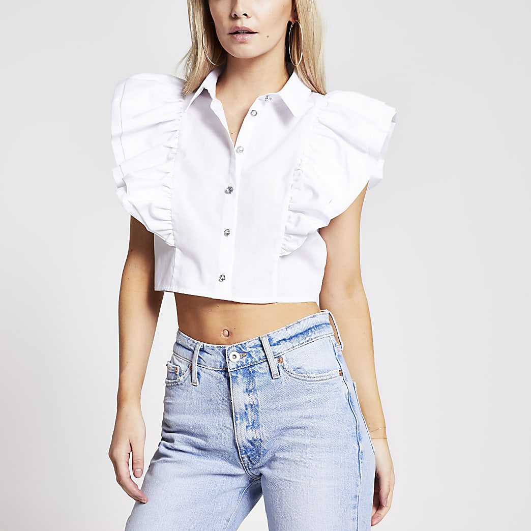 Petite white frill sleeveless cropped shirt