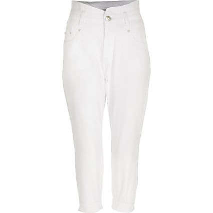 Petite white high rise jeans