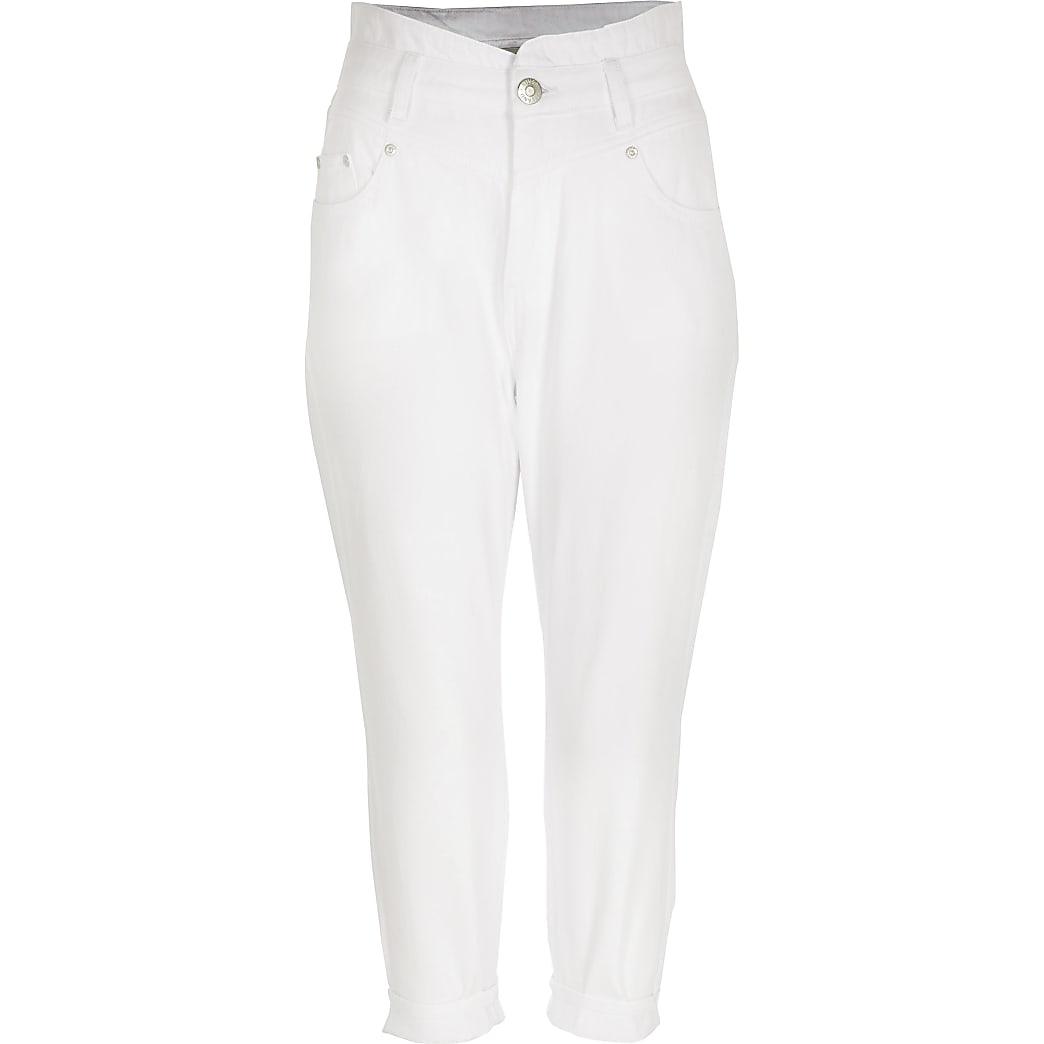 Petite white high rise jeans