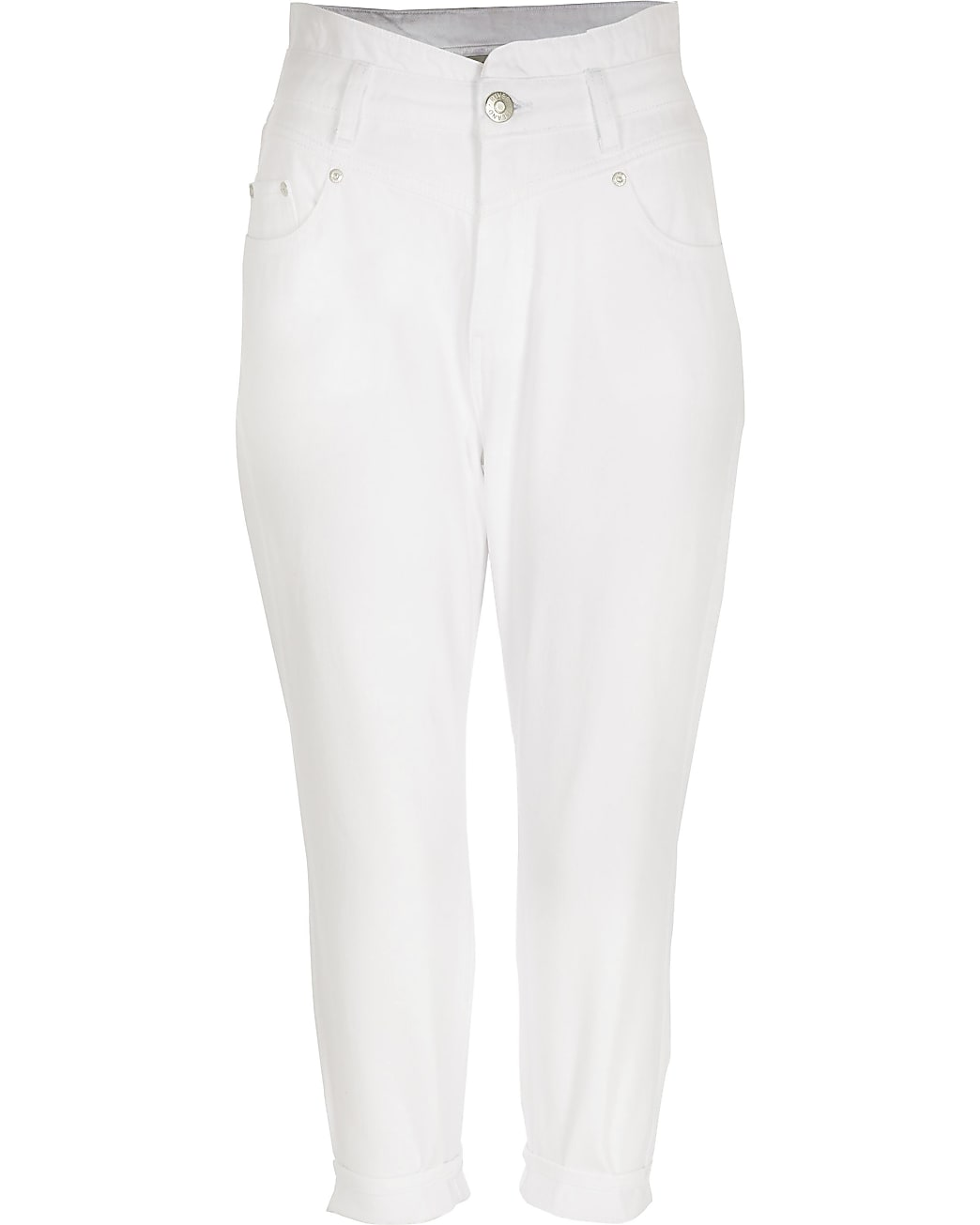Petite white high waisted jeans