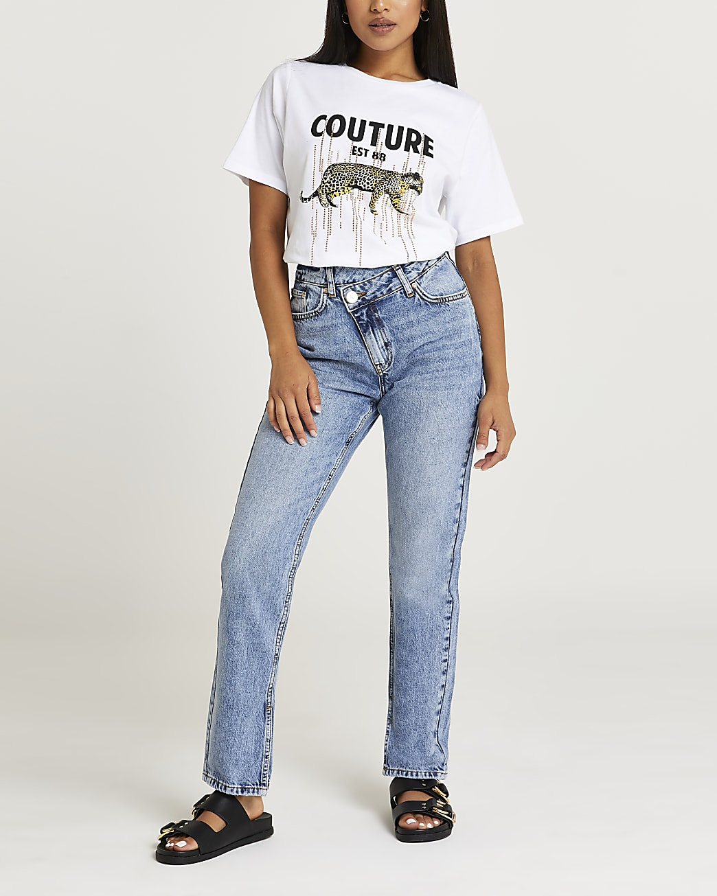 Petite white leopard print oversized t-shirt