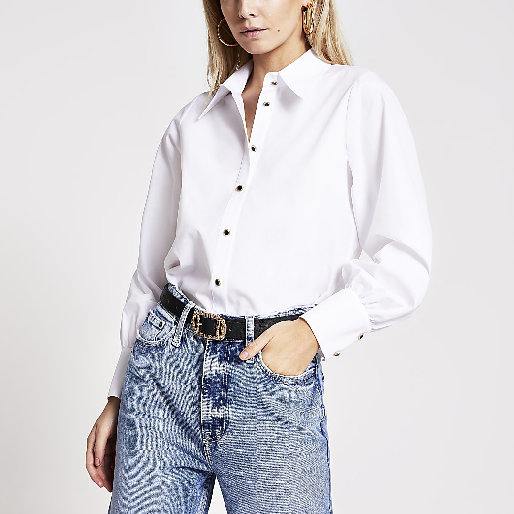 Petite white long sleeve shirt