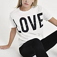 Petite white 'Love' print diamante T-shirt