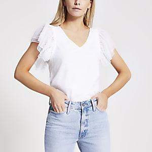 Petite white mesh frill sleeve t-shirt