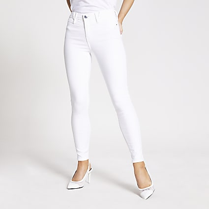 Petite white Molly mid rise jeggings